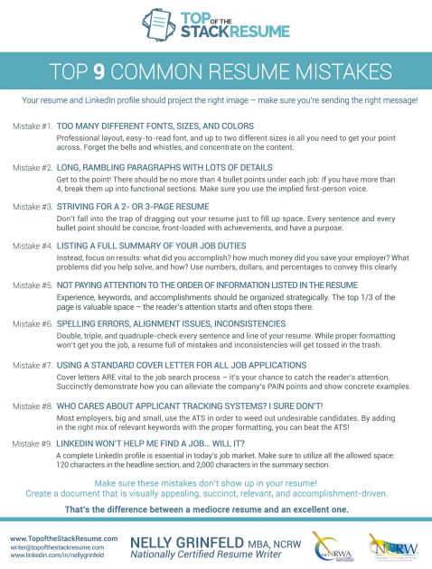 top 9 common resume mistakes top of the stack resume writer